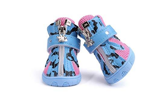 Donad Atmungsaktive Hundeschuhe Reißverschluss Sommer Kleine Hundeschuhe Mesh Sandalen Abriebfeste Robuste, stilvolle Hundestiefel
