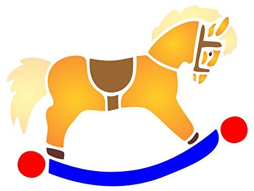 Schaukelpferd Schablone–wiederverwendbar Kinderzimmer Spielzeug Baby Animal Wand Schablone–Vorlage, auf Papier Projekte Scrapbook Tagebuch Wände Böden Stoff Möbel Glas Holz etc. Größe S