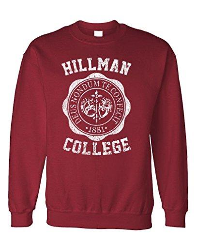 Hillman College - Retro 80s Sitcom tv - Fleece Sweatshirt, 3XL, Maroon