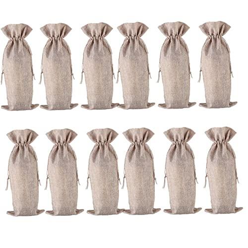 Botella de vino de arpillera bolsa a prueba de polvo Escudo con cordón para la decoración del partido de boda del regalo de vacaciones 12PCS para el hogar