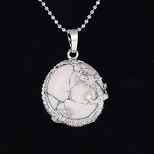 YQMR Collares con Colgantes De Piedra para Mujer,7 Chakra Señoras Cristal Semiprecioso Natural Dragón De Plata Retro Cadena De Howlita Blanca Día De Cumpleaños De La Mujer
