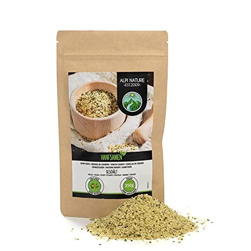 Semillas de cáñamo peladas (250g), corazones de semillas de cáñamo completamente 100% natural, sin aditivos, vegano