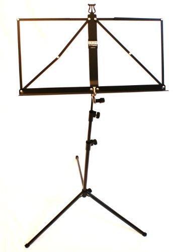 BASIX muziekstandaard zwart met praktische muziekklem - stabiele, mooi gevormde en inklapbare muziekstandaard - dubbel uittrekbaar