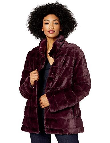 kensie Women's Faux Fur Reversible Coat, Burgundy, M