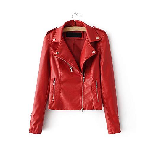 LJYH Women's Zipper Motorcycle Biker Faux Leather Jackets Red