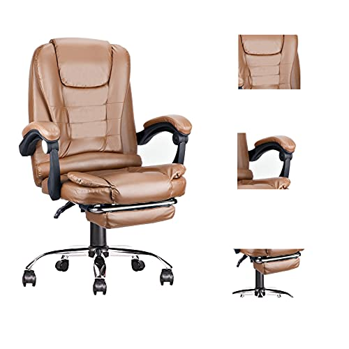 Escritorio de computadora y silla de doble capa de esponja gruesa con reposabrazos, reposacabezas, cojín suave, rotación libre, silla lumbar ajustable de cuero (ámbar-PU, 1)