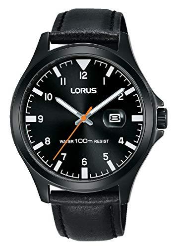Lorus Sport Herren-Uhr Edelstahl mit Lederband RH967KX9