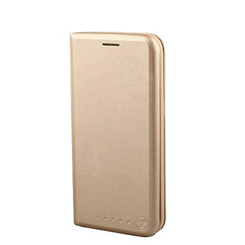 Nouske Lederflip case für Samsung Galaxy S7 hülle Tasche handgefertigt geschwungene Kanten mit Aufsteller & Kartenfach TPU Schutzhülle Cover Gold.