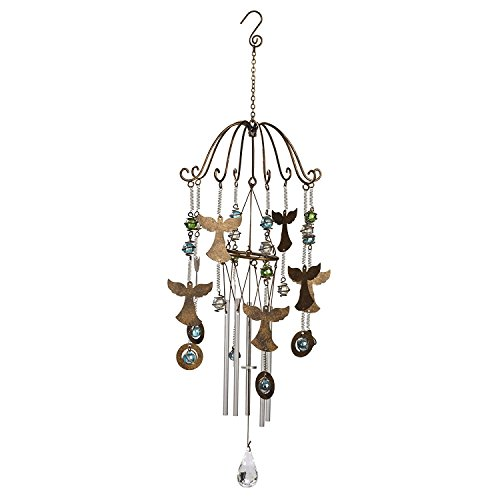 Grasslands Road Angels Wind Chime - Home Garden Décor - 7 Inch Width 23 Inch Height, Metal/Glass