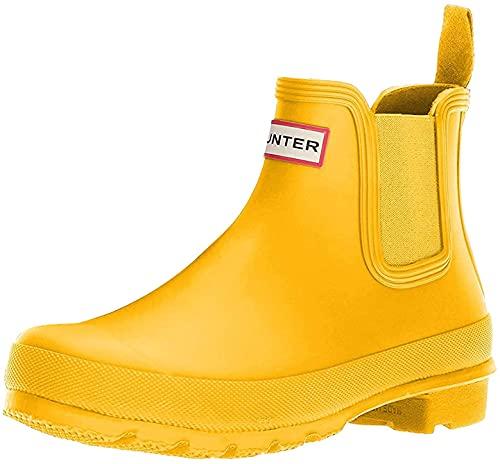 Hunter Original Chelsea Zapatos Brillantes para Mujer, Amarillo (Amarillo), 35 EU