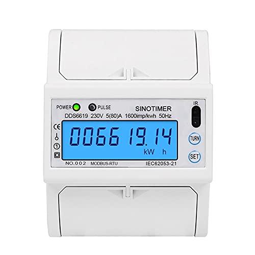 単相5(80)1つの230V AC RS485 ModbusRtuエネルギーメーター電気消費量発光モニタリングDINレール