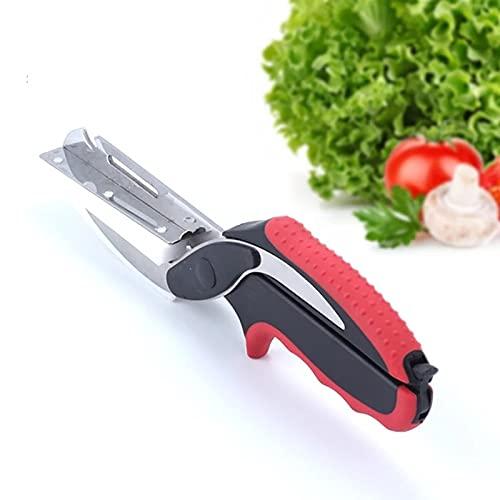 Zelonot-tijeras cocina inteligente con tabla cortar cocina-tijeras de cocina multiusos 6 en 1-cuchillo de cocina, cuchillo sierra, tabla de cocina, pelador de fruta y verdura, abrelatas y escamador.