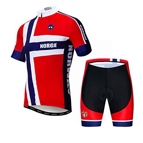 JPOJPO Herren Fahrradtrikot Kurzarm + 5D Gepolsterte Shorts Sommer schnell trocknend S-3XL XXX-Large Norwegen