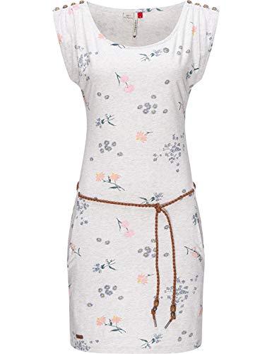 Ragwear Damen Kleid Dress Sommerkleid Jerseykleid Freizeitkleid Strandkleid Chego Flowers Intl. White Gr. S