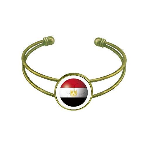 DIYthinker Ägyptische Nationalflagge Fußball Armband Armreif Retro Offene Manschette Schmuck