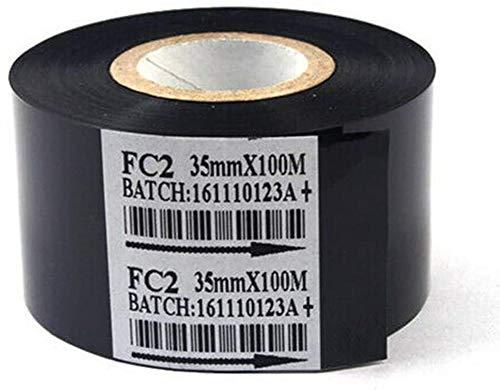 Black 2 Rolls Hot Stamp Ribbon FC2 35mm x 100m Thermal Transfer Ribbon for Coder Printer Machine