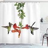 Sosun Cortina de baño de colibríes, 2 colibríes Bebiendo néctar de una Trompeta Flores de Vid en Verano, Conjunto de decoración de baño de Tela de Tela con Ganchos, Blanco Rojo