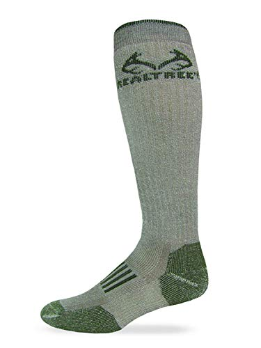 RealTree Heavyweight Merino Wool Tall All Season Boot Socks 1 Pair, Large, Tan/Olive