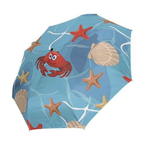 Ahomy Kompakter Reise-Regenschirm, Strandmuschel, Krabben, Seestern, Winddicht, automatisches Öffnen, Rutschfester Griff für einfaches Tragen