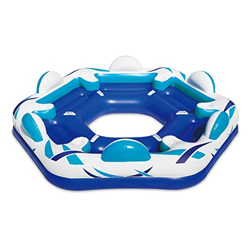 Summer Waves Inflatable 6 Person Party Pad Swimming Pool Beach Lake Float Island with 6 Cupholders and Backrests Idaho