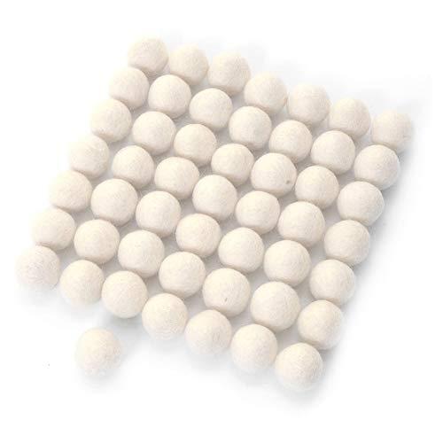 Felt Balls Pompoms DIY Wool Ball Small Pom Poms for Craft Decoration Felt Monochromatic Small for Felt Garland Indoor Decorations White 1.5cm 60pcs