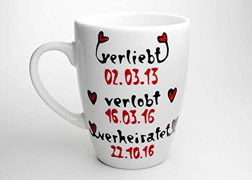 Personalisiertes Hochzeitsgeschenk Tasse Verliebt Verlobt Verheiratet für das Brautpaar, auch für die Trauzeugen die Geschenkidee
