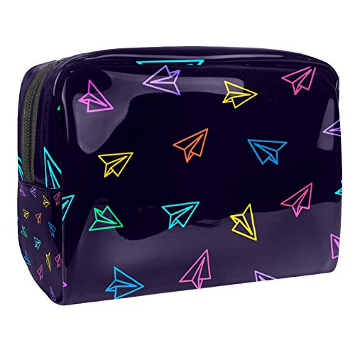 Draagbare make-up tas met rits reizen toilettas voor vrouwen handige opslag cosmetische zakje papier vliegtuig roze geel blauw cartoon marine achtergrond