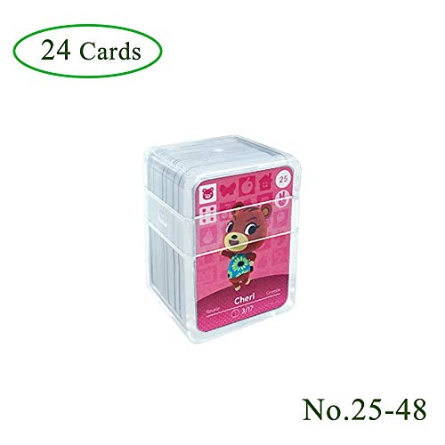 NFC Etikett Spielkarten Tag Game Cards für Animal Crossing, 24Stk(No. 25-No. 48). Botw Karten Cards mit Kristall Hülle kompatibel mit Nintendo Switch / Wii U
