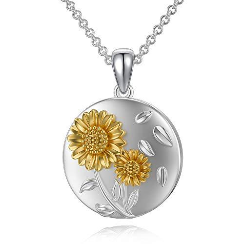 ROMANTICWORK - Collar con colgante de plata de ley, diseño de girasol con texto en inglés 'You are My Sunshine para mujer y niña