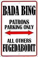 なまけ者雑貨屋 Bada Bing アメリカン ビンテージ風 レトロ アンティーク ブリキ看板 メタルプレート 屋内 用