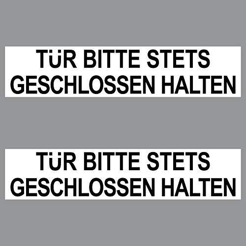 GreenIT 2 Sticker Tür Bitte stets geschlossen halten PVC Aufkleber 20cm Hinweis Schild für Tür zu schließen Tor in Geschäft Arzt Praxis Kanzlei