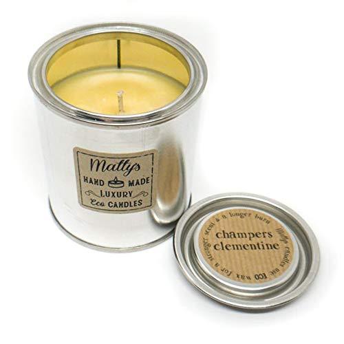 Matty's Candles® Premium Duftkerze in Dose, vegan, reines Sojawachs, geeignet für Veganer, umweltfreundliche Verpackung Prosecco & Clementine