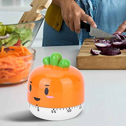 Pwshymi Reloj Alarma Dibujos Animados Temporizador mecánico Recordatorio de Alarma mecánica para estudiar(Orange)