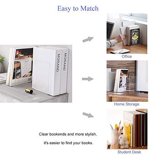 MerryNine Plastic Acrylic Bookends Pair Organizer Bookshelf Decor Decorative Bedroom Library Office School Supplies Stationery Gift (Plastic Acrylic_4 Pairs) Photo #4