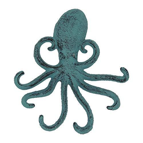 Gancho de Pared de Hierro Fundido Octopus - Tentáculos de Pulpo Decorativos para la Entrada, la Puerta o el baño - Novedosa decoración de Pared - Color Azul con Tornillos y Anclas incluidos