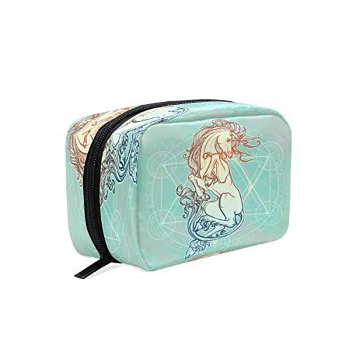 BKEOY Make-up-Tasche mit weißem Einhorn-Logo, Kosmetiktasche mit Reißverschluss, Make-up-Pinseltasche