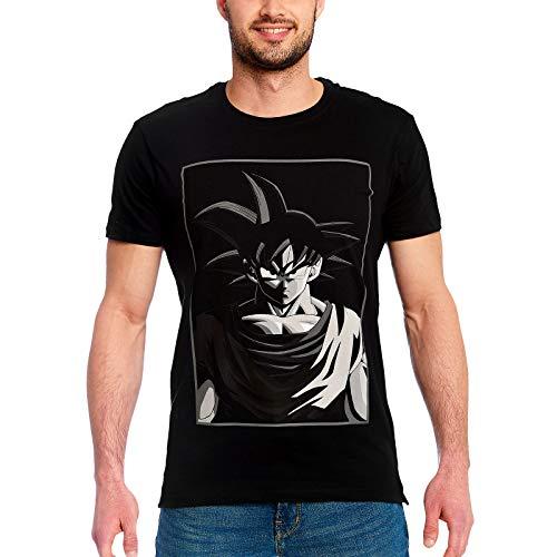 Dragon Ball Z Goku Manga Cara Camiseta de algodón Negro - S