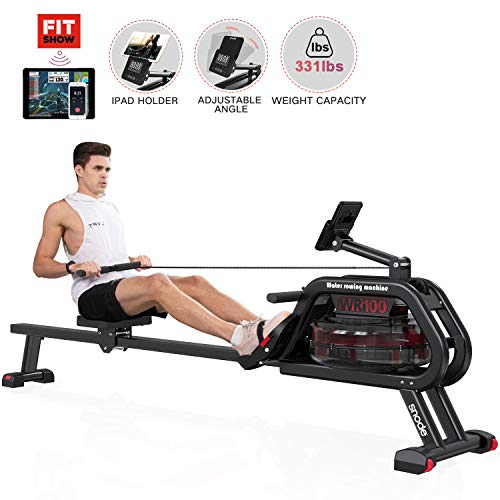 SNODE Water Rowing Machine Folding Indoor Exercise Rower with LCD Monitor for for Whole Body Exercise Home Use Indoor Gym Sports Fitness