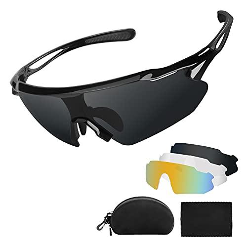 abtong Sportbrille Fahrradbrille Herren Damen Polarisierte UV400 Schutz mit 3 Wechselgläser MTB Fahrrad Brille Selbsttönend Radsportbrillen für Fahren Angeln Glof Baseball Laufen Wandern