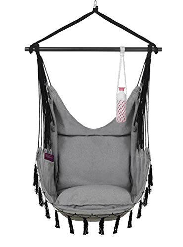 VITA5 Hanging Chair 2 Cushions, Drinks & Book Holder, 500 lbs Weight Capacity – Hammock Chair for Bedrooms – Swing Chair for Indoor & Outdoor (Warm Grey)