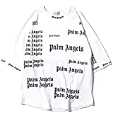 Herren und Damen Palm Angel T-Shirt lässig Paar Engel Buchstaben Druck Sweatshirt Hip-Hop Street Style Männer und Frauen (White,S)