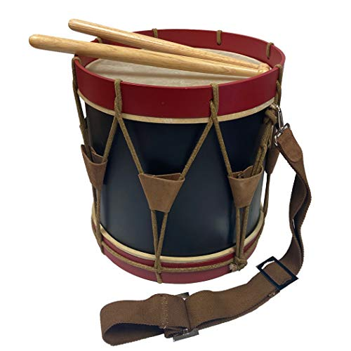Authentic 16' Civil-Revolutionary War Era Red and Blue Wooden Marching Drum with Drum Sticks and Strap- Antique Reproduction