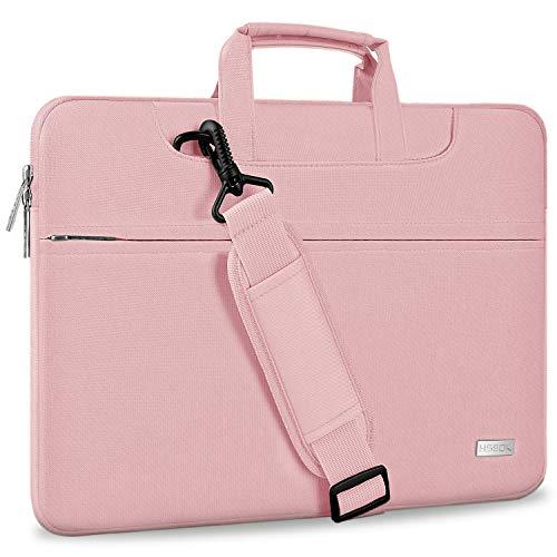 Hseok Laptop Shoulder Bag 13 13.3 13.5 Inch Briefcase, Compatible 13.3 MacBook Air/Pro, XPS 13, Surface Book 13.5' Spill-Resistant Handbag with Shoulder Strap for Most 13'-13.5' Notebook, Pink