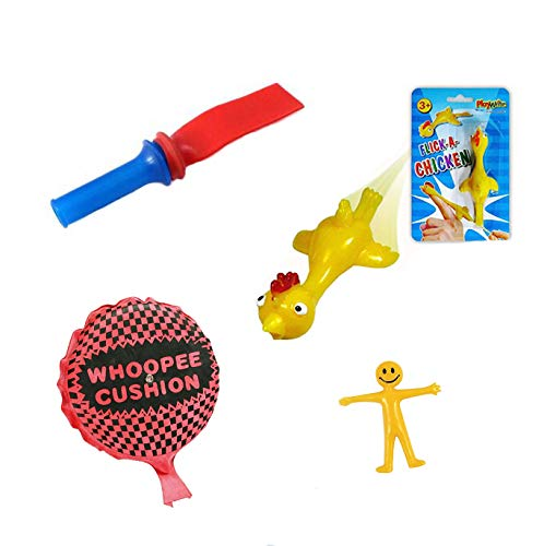 The Jokeshop Classic Novelty Practical Jokes ( Fart Whistle, Whoopie Cushion, Flick Catapult Chicken & FREE Stretchy Smiley ) Kids Party Gift Favours Christmas Stocking Fillers Toys