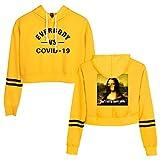 女子COVID-19プルオーバー、カジュアルプリント少女の露出へそ長袖パーカー (Color : Yellow, Size : M)