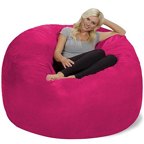 Chill Sack Bean Bag Chair: Giant 6' Memory Foam Furniture Bean Bag - Big Sofa with Soft Micro Fiber Cover, Pink