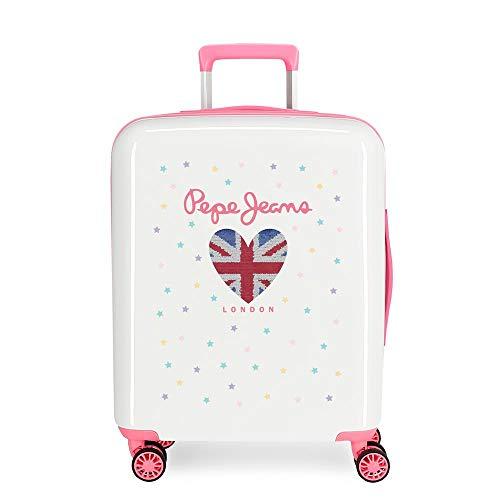 Pepe Jeans Estela White Cabin Suitcase 40 x 55 x 20 cm Rigid ABS Integrated TSA Closure 38.4 L 2 kg 4 Wheels Double Hand Luggage