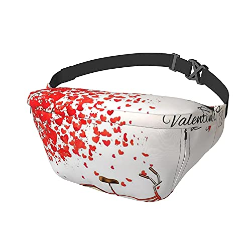 Valentine's Day Bike Tree Red Heart Cycle (2) Printed Anti-Theft Shoulder Backpack Chest Crossbody Bag Hiking Camping Trip Waist Bag