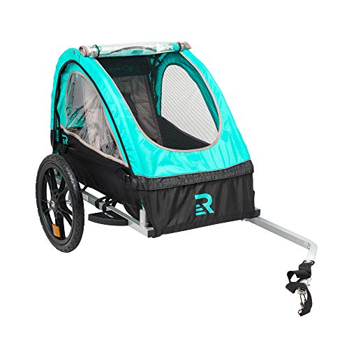 Retrospec3356 Rover Kids Bicycle Trailer Single and Double Passenger Children's Foldable Tow Behind Bike Trailer with 16' Wheels, CPSC Approved Safety reflectors, and Rear Storage Compartment, Teal