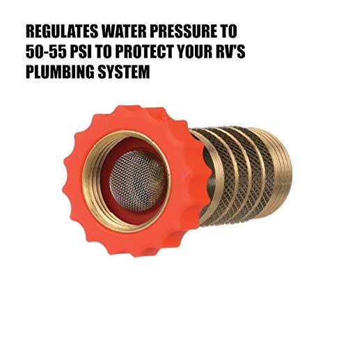 Valterra A01-1122VP RV Hi-Flow Water Regulator, Lead-Free Brass Hi-Flow Water Regulator for Camper, Trailer, RV Plumbing System, 50-55 psi